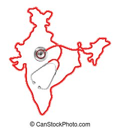 concept of Medical background with Stethoscope around India map