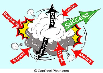 Illustration of concept struggle to make your business successful