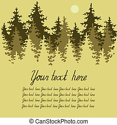 Illustration of coniferous forest with a place for your text.