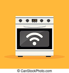 connected stove on orange background