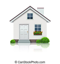 illustration of cool detailed house icon isolated on white background.