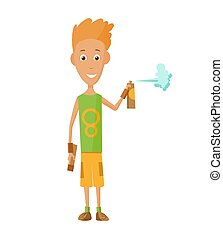 illustration of cool guy showing bottle of spray paint.