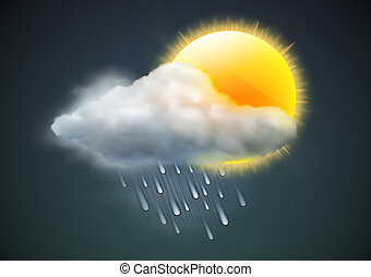 illustration of cool single weather icon - sun with raincloud and raindrops in the dark sky