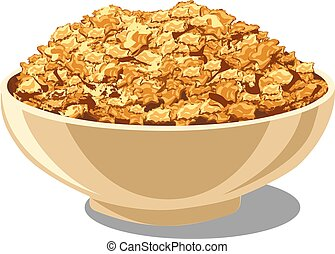 cornflakes in bowl - illustration of cornflakes in bowl