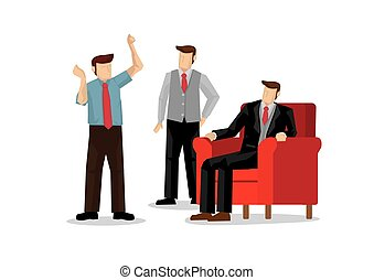 Illustration of corporate businessman explain to his boss.