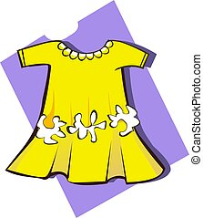 Illustration of cotton babies frock with flower design