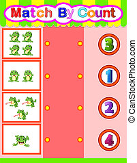 Count and match frog cartoon, math educational game for children