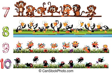 Counting numbers with animals - illustration of Counting ...