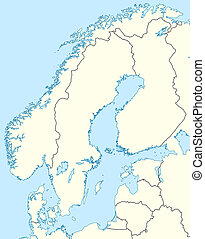 Illustration of countries of Scandinavia map showing state borders.