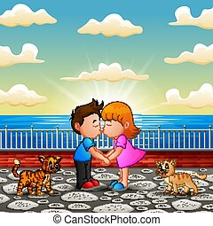 Illustration of Couple cartoon kissing on the bridge