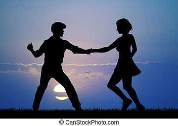 illustration of couple dancing boogie woogie at sunset