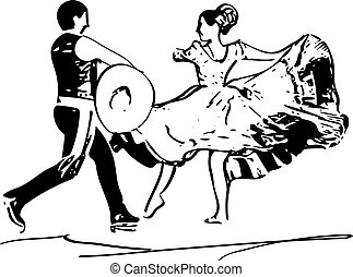 Illustration of Couple dancing