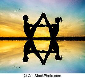 couple doing yoga - Illustration of couple doing yoga