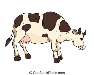 Illustration of Cow Cartoon - Vector Illustration