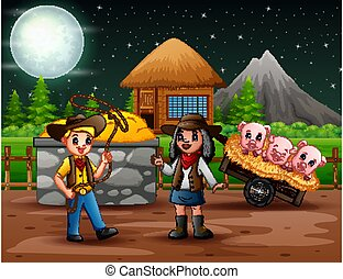 Illustration of cowboy and cowgirl in the farm at night