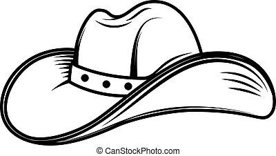 Illustration of cowboy hat in engraving style. Design element for poster, card, banner, flyer. Vector illustration