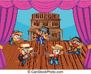 Cowboy kids on stage with acting