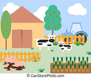 Illustration of cows and pigs at the farm