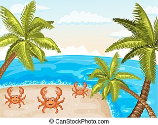 Illustration of crabs on the beach