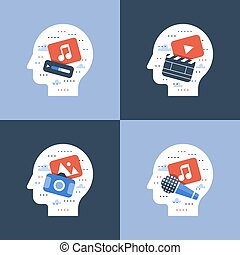 Illustration of creative occupations, make video, song...