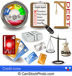 credit icons - Illustration of credit icons