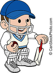 Illustration of male cricketball player in cricket uniform