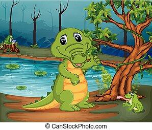 crocodile and frog in the jungle with lake scene