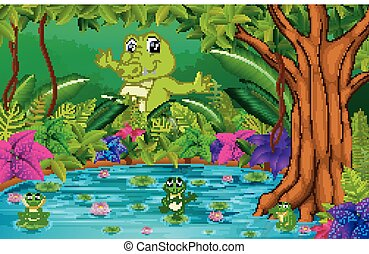 crocodile and frog in the jungle with lake scene
