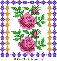Cross Stitch Embroidery Rose Floral design for seamless pattern texture