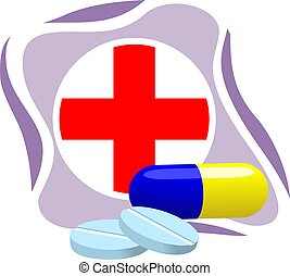 Illustration of cross symbols with medicine
