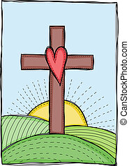 Illustration of cross with heart - Religion - cross with ...