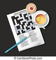 illustration of crossword game, mug of tea and cup cake