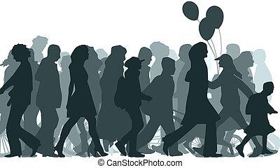 Illustration of crowd. - Horizontal vector illustration...