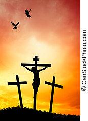 crucifixion at sunset - illustration of crucifixion at...