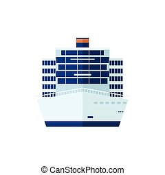 illustration of cruise ship isolated, front view, on white background