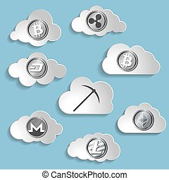 illustration of crypto currency cloud mining pickaxe and ...