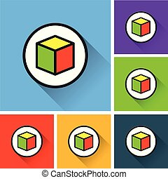 Box cube with icons  Vector cube box for business concepts