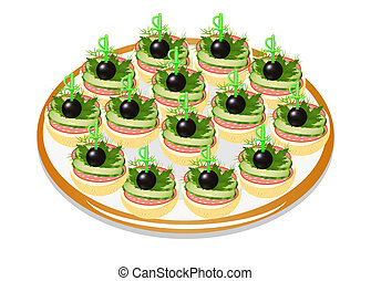 of cucumber sandwiches with sausage and olives on a plate