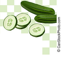 Illustration of Cucumber with Slices with white text space