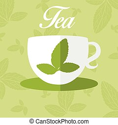 Illustration of cup with leaf tea. vector