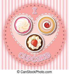 Illustration of cupcake on heart shape