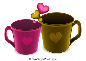cups with heart - illustration of cups with heart on white...