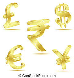 illustration of currency symbol on white background