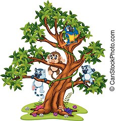cute baby animal on the tree