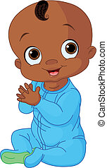 Illustration of Cute baby boy clapping hands