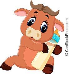 cute baby bull cartoon