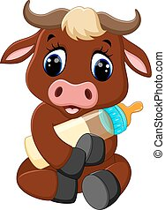 cute baby bull cartoon - illustration of cute baby bull ...