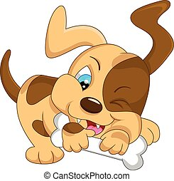 cute baby dog cartoon with bone - illustration of cute baby...