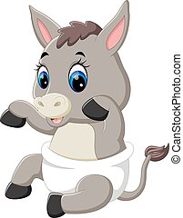 cute baby donkey cartoon - illustration of cute baby donkey...