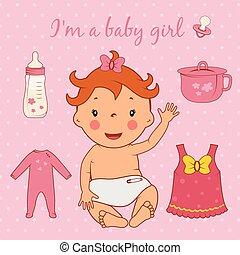 Illustration of cute baby girl. Vector